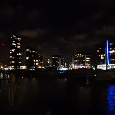 Southampton Ocean Village at night